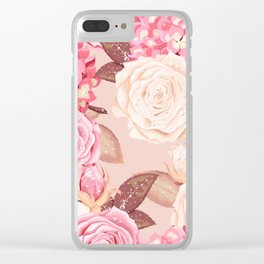Rain Roses Floral Kingdom Sumptuous Fantasy Flower Pattern Clear iPhone Case