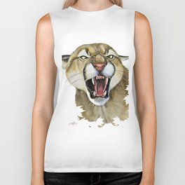 snarling cougar Biker Tank