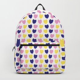 Confetti hearts falling. Backpack