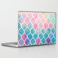 bianca green Laptop & iPad Skins featuring Rainbow Pastel Watercolor Moroccan Pattern by micklyn