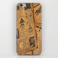 newspaper iPhone & iPod Skins featuring old newspaper by Marianna Burk