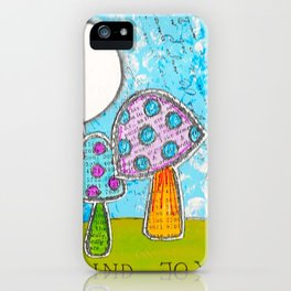 Mushroom Mixed Media Painting in Dyan Reaveley Style with Bright and Vibrant Colors iPhone Case