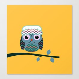 Cute owl sitting on a branch Canvas Print