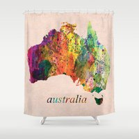 australia Shower Curtains featuring Australia  by mark ashkenazi