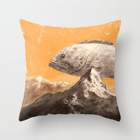 bass Throw Pillows featuring Mountain Bass by Sam Rowe Illustration
