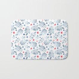 Modern red pastel blue watercolor floral pattern Bath Mat