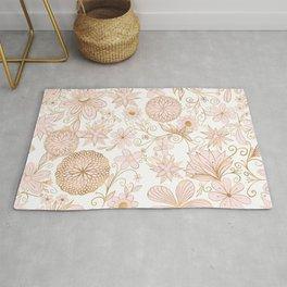 Cute Girly Gold Floral Doodles Blush Pink Design Rug