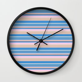 Cherry Blossom Stripes Wall Clock