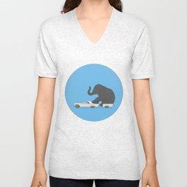 Thunderbird with elephant Unisex V-Neck