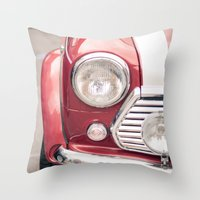 mini cooper Throw Pillows featuring Red Mini Cooper by Oy Photography
