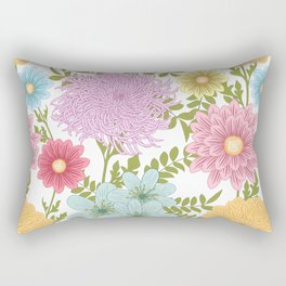 Painted Floral Pattern With Dahlias And Chrysanthemums Rectangular Pillow