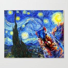 Starry Night Squirrel Photo Bomb Pop Art Canvas Print