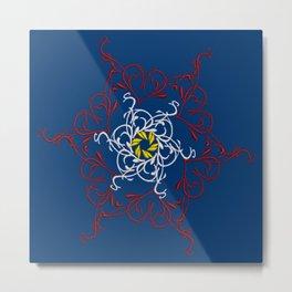 Mandala, Dark Teal, Red, White, Yellow Metal Print
