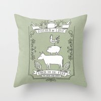 vegetarian Throw Pillows featuring Vegetarian by Dani Purper