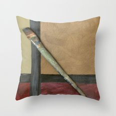 Artist Brush On Abstract Copper Canvas Artwork - Vintage - Modern Art - Painter Throw Pillow