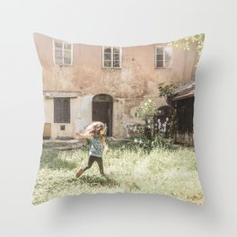 Playful in Nature   Happy Wild Skipping Child Vintage Outdoor Field Rustic Charming Country Farm Throw Pillow