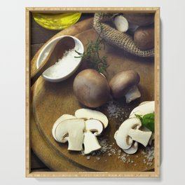 Fresh chili  and mushrooms fine Serving Tray