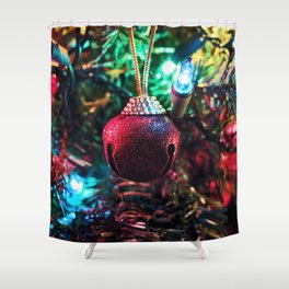 Tis the Season of Red Bells Shower Curtain