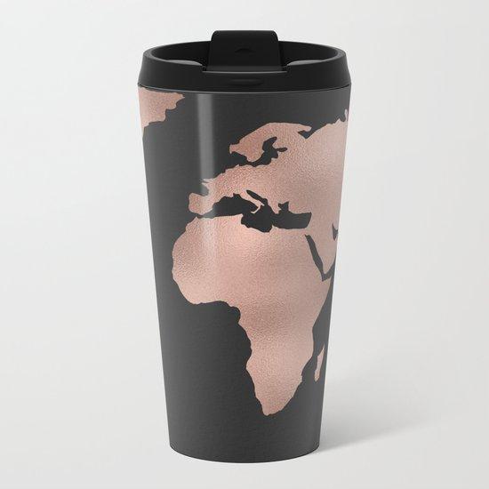 Rose Gold World Map on Dark Gray Metal Travel Mug