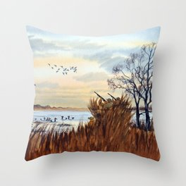 Duck Hunting Season Begins For The Canvasback Throw Pillow