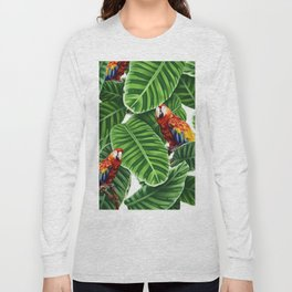 tropical leaves macaw pattern Long Sleeve T-shirt