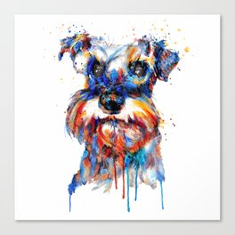 Schnauzer Head Watercolor Portrait Canvas Print