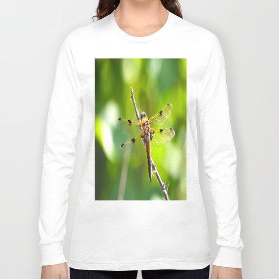 Dragonfly On A Branch Of A Rose Long Sleeve T-shirt