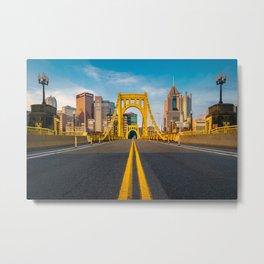Pittsburgh Steel City Skyline Bridge Pennsylvania Photography Print Metal Print