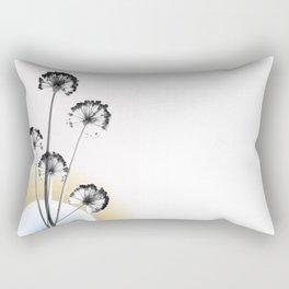 black and white flower wallpaper and the sun, flower decor, printable art Rectangular Pillow
