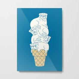 Pug Ice Cream Metal Print