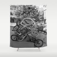 bikes Shower Curtains featuring Bikes by DarkMikeRys