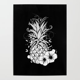 Pineapple with hibiscus blossom Poster