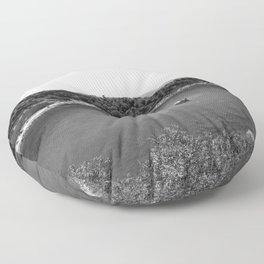 Rhodes Greece Anthony Quinn Bay black white Floor Pillow