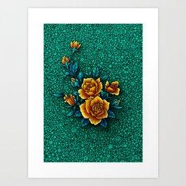 Mama's Garden - Turquoise Art Print
