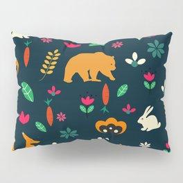 Cute little animals among flowers Pillow Sham