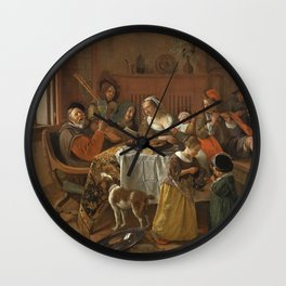The cheerful family, Jan Havicksz. Steen, 1668. Music reunion. Wall Clock