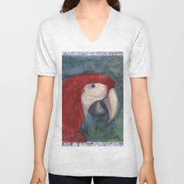 Red Macaw Unisex V-Neck