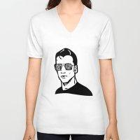 alex turner V-neck T-shirts featuring Alex Band Guy Minimalist Print (Alex Turner) by TallulahLost