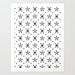 Black on White Stars Grid Art Print