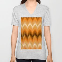 Orange chevron Unisex V-Neck