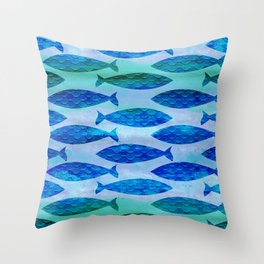 Blue Turquoise Green Watercolor Fish Pattern Throw Pillow