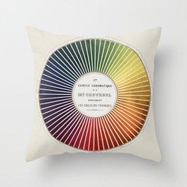Chevreul Cercle Chromatique, 1861 Remake, vintage wash Throw Pillow