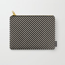 Black and Frosted Almond Polka Dots Carry-All Pouch