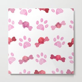 Doodle pink paw prints and bone hand drawn beautiful pink roses pattern Metal Print