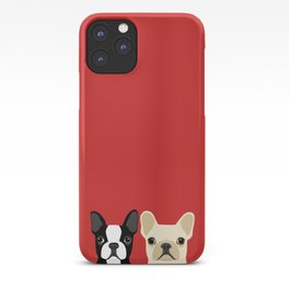 Boston Terrier & Cream French Bulldog RED iPhone Case