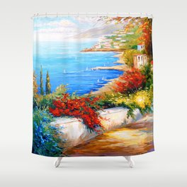 Bright day by the sea Shower Curtain