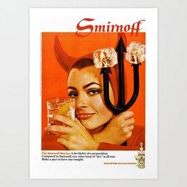 Vodka Martini, A devilishly dry proposition Vintage Pitchfork - Devil Advertisement Poster Art Print