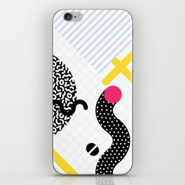 Memphis Design Pattern Snake and Worms iPhone Skin
