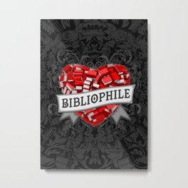 Bibliophile Heart Metal Print