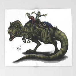 Zombies Riding a Trex Throw Blanket